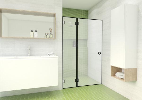 Nischendusche mit einer Tür und einem fixem Seitenteil – DG3