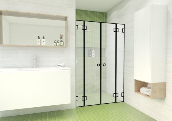 Nischendusche mit einer Tür und fixen Seitenteilen links und rechts – DG5