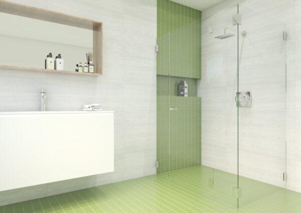 Eckdusche mit 3 fixen Seitenteilen und Türe – DG10